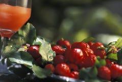 Boissons de Brésilien : jus d'acerola (griotte) photographie stock libre de droits