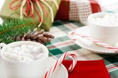 Boissons de cacao de chocolat chaud avec des cannes de sucrerie Image libre de droits