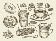 Boissons et nourriture Café tiré par la main, thé, tasse, dessert, sucrerie, chocolat, eclair, gâteau, beignet, beignet Vecteur d Photographie stock