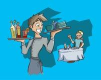 Boissons et plats de transport de serveur Image stock