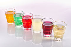 Boissons non alcoolisées colorées Photo stock