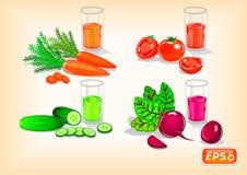 Boissons saines avec les légumes savoureux illustration de vecteur