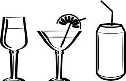 boissons Trois icônes pour la conception de menu Image libre de droits