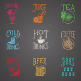 Boit des icônes de menu - style latin Photos stock