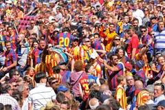Boixos Nois, radicaal F C De verdedigers van Barcelona in Camp Nou op de Spaanse Liga Stock Afbeelding