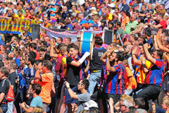 The Boixos Nois, radical F.C. Barcelona supporters at the Camp Nou on the Spanish League Royalty Free Stock Photo