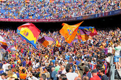 The Boixos Nois, radical F.C. Barcelona supporters at the Camp Nou on the Spanish League Stock Photos