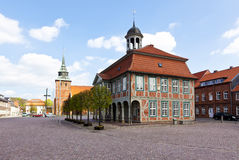 Boizenburg, town hall and St. Marien church Stock Photo