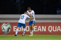 Bojan Jokic and Domen Crnigoj after scoring goal. RIGA, LATVIA. 10th of June, 2019. UEFA EURO 2020 Qualification game between national football team of Latvia royalty free stock images