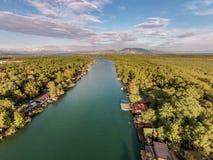 Bojana Fluss und Ada Island in Ulcinj, Montenegro Stockfoto