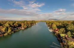 Bojana Fluss und Ada Island in Ulcinj, Montenegro Lizenzfreie Stockfotografie