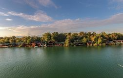Bojana Fluss und Ada Island in Ulcinj, Montenegro Lizenzfreies Stockbild