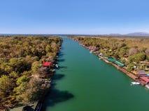 Bojana Fluss und Ada Island in Ulcinj, Montenegro Lizenzfreies Stockfoto