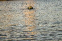 Bojet för att förtöja sänder i mitt av floden Arkivfoto