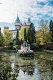 Bojnice castle with beautiful turret reflected in the lake, Slov Royalty Free Stock Photos