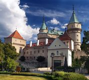 Bojnice castle - Entrance. Famous Bojnice Castle. This romantic castle is located in Bojnice town, Slovakia. Many attractions can be seen there including Museum Royalty Free Stock Photos