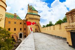 Bojnice castle flag on the wall Royalty Free Stock Images