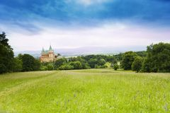 Bojnice castle from the hills Royalty Free Stock Image