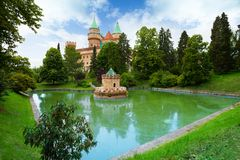 Bojnice castle and pond royalty free stock photography