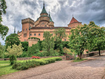 Bojnice Castle Slovakia. Bojnice Castle belongs to the oldest and most important memorials in Slovakia. It stands on a travertine hill over the town. The first Stock Image