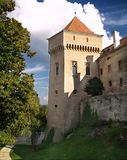Bojnice castle - Tower. A view of one tower and a dry moat of famous Bojnice Castle. This romantic castle is located in Bojnice town, Slovakia. Many attractions royalty free stock image