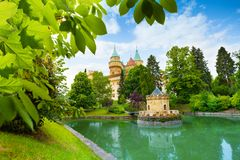Bojnice castle view from park Stock Images