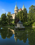 Bojnice Castle (Slovakia). Summer view with pond. Built in the 12th century, rebuilt in 1889-1910. Royalty Free Stock Photos