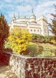 Bojnice kasztel w Słowackiej republice, koloru żółtego filtr zdjęcia royalty free