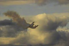 Bojowa formacja cztery dżetowy samolot wojskowy bierze daleko od t Zdjęcie Royalty Free