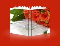 Bok av crystal hjärta- och apelsinros 01 Arkivfoton