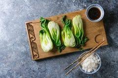 Bok choy с рисом Стоковые Фото