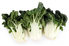 Bok choy. Three bok choy over white background royalty free stock photography