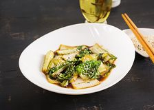 Bok choy vegetables stir fry with soy sauce and sesame seeds. Chinese cuisine stock image