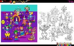 Bok för färgläggning för clownteckengrupp royaltyfri illustrationer