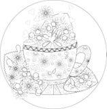 Bok för färgläggning för handattraktionvektor för vuxen människa teatime Kopp te, frukter och blommor vektor illustrationer