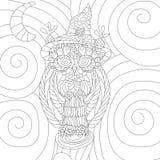 Bok för färgläggning för ugglaanti-spänningsvektor för vuxen människa Isolerade ornamen Arkivfoto