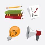 Bok för räknemaskin för idé för lampa för rapport för möte för megafon för begrepp för liv för kontor för illustration för affärs royaltyfri illustrationer