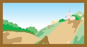 Bok för tecknad film för lantgårdbyplats Arkivbild