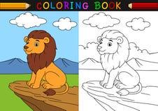 Bok för tecknad filmlejonfärgläggning vektor illustrationer
