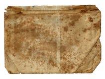 Bok för tom sida för gammal tappning smutsig sönderriven på en vit arkivbilder