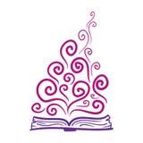 Bok fantasi, kunskap Tecknad illustration för vektor hand Symbol på genomskinlig bakgrund Royaltyfri Bild