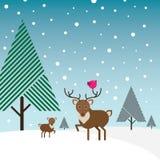 Bok, herten en vogel in sneeuw met naaldboombomen Royalty-vrije Stock Afbeeldingen