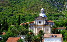 Bok Kotor, Montenegro, miasteczko w górach Zdjęcia Stock