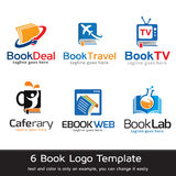 Bok Logo Template Design Vector Royaltyfri Illustrationer