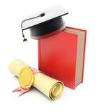 Bok med det avläggande av examenlocket och diplomet Royaltyfri Fotografi