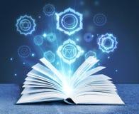 Bok med magiska symboler stock illustrationer