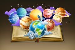 Bok med planetbakgrund royaltyfri illustrationer