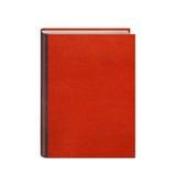Bok med röda den isolerade läderhardcoveren Fotografering för Bildbyråer
