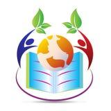 Bok med världen royaltyfri illustrationer