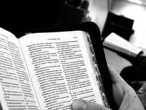 Bok scripture, bibel i händerna royaltyfri foto